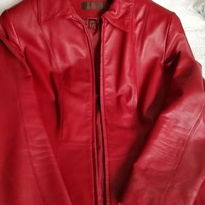Red leather Danier coat